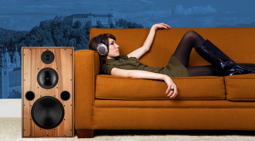 Girl on Retro Couch With Wine